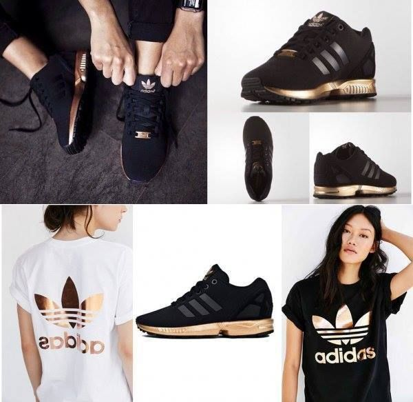 fecc79db48c6 Womens Adidas ZX Flux Black Copper Rose Gold Metallic NMD Medal S78977 Size  9.5 in Clothing