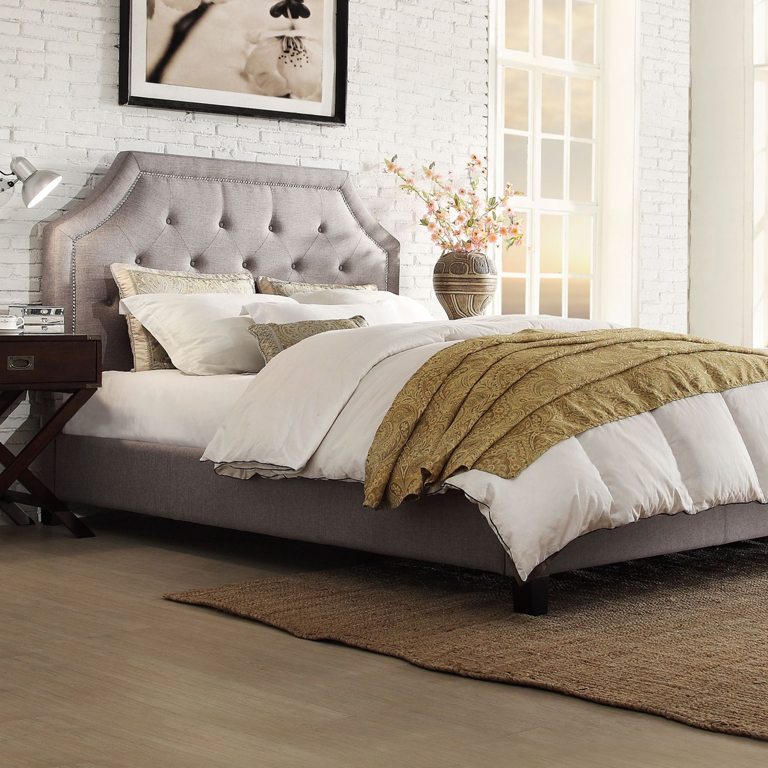 Inspire Q Grace Grey Linen On Tufted Arched Bridge Upholstered Bed Ping Great