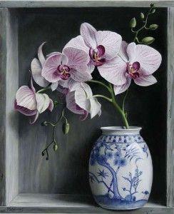 Orchids In A Chinese Vase By Pieter Wagemans 2008 Medium Oil Size 13 X 11 Cylindervasesideas Suluboya Cicekler Orkideler Melek Sanat