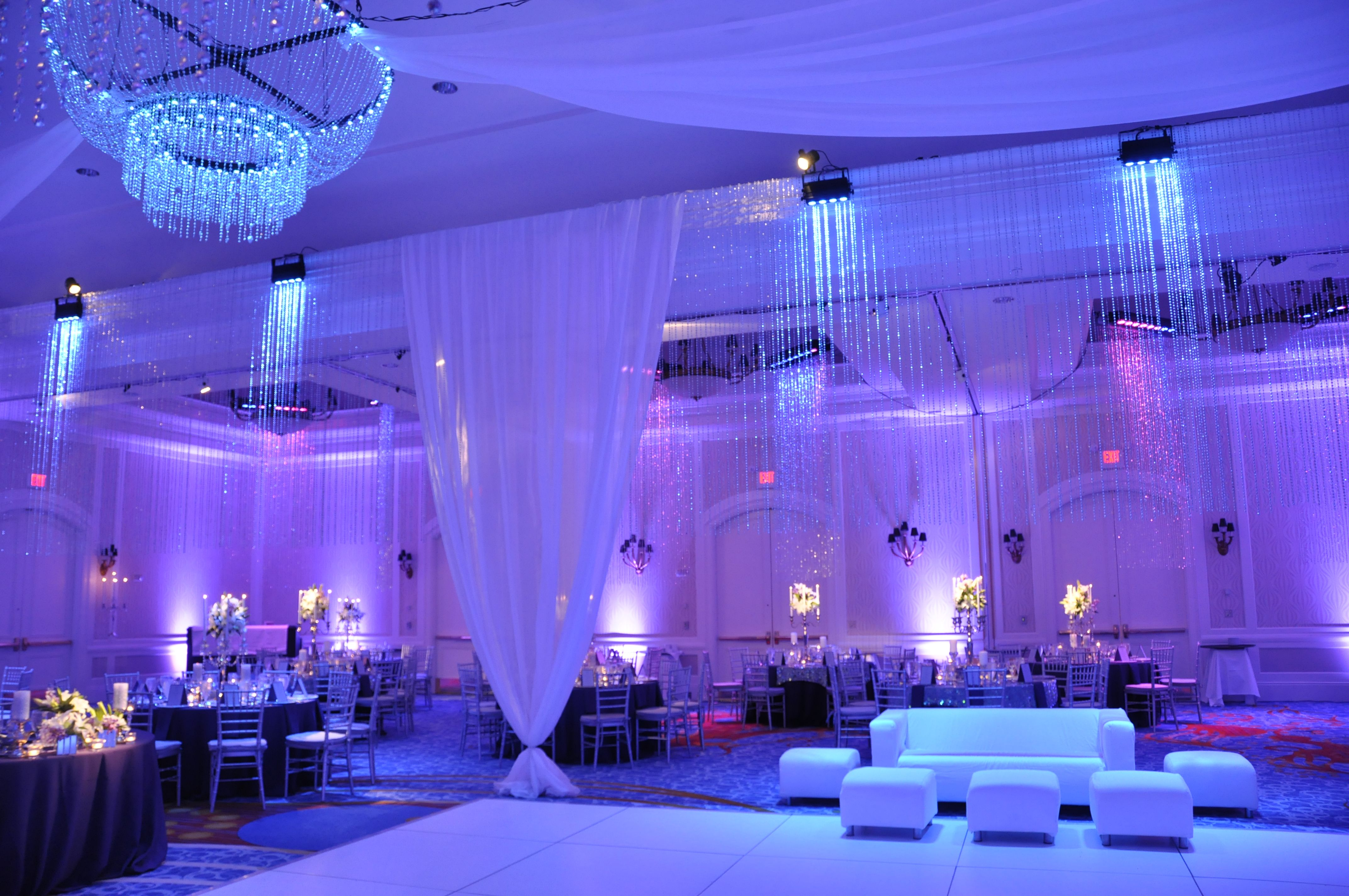 Dazian Beads Nuvoile Drapes And Led Regal Chandeliers Steel Lighting Design Steel Lighting Event Design Inspiration