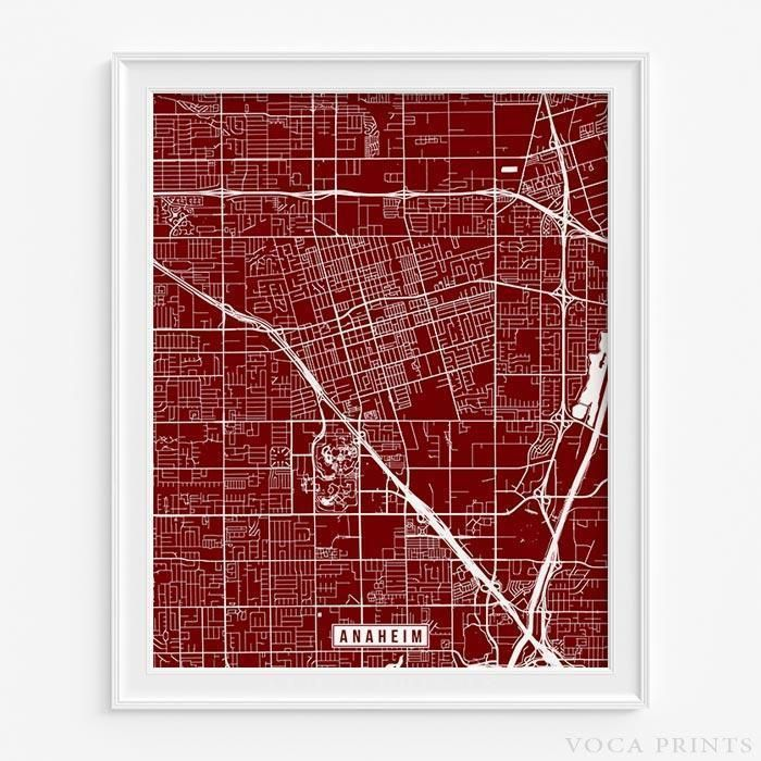 Anaheim california street map print Anaheim california