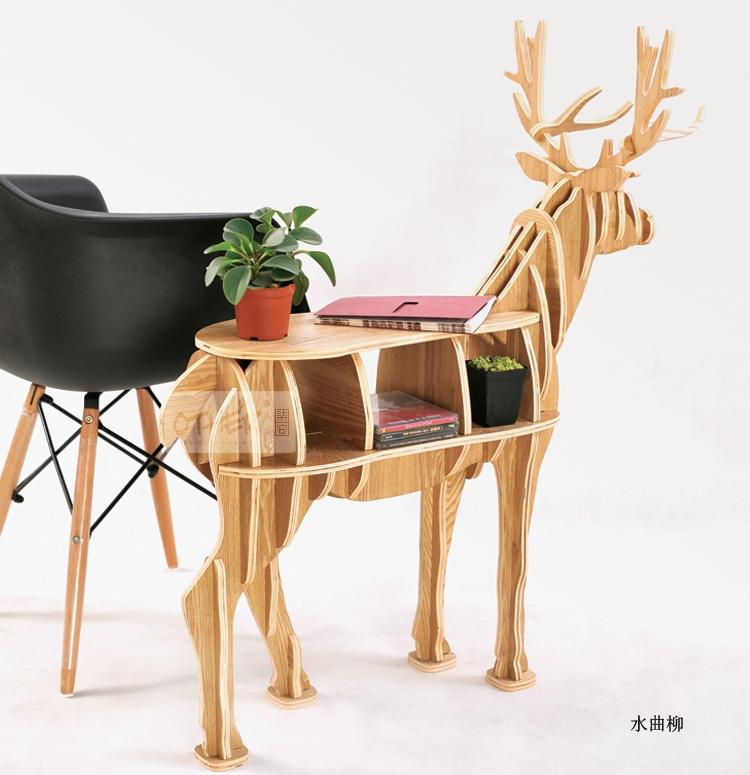 249.99$  Watch now - http://aliis2.worldwells.pw/go.php?t=32763132509 - 100% birch wood deer table European DIY Arts Crafts Home Decoration deer wood craft gift desk self-build puzzle furniture