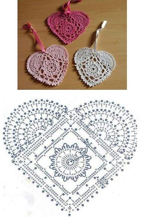 Corazones al crochet | Navidad | Pinterest | Ganchillo, Tejido y ...