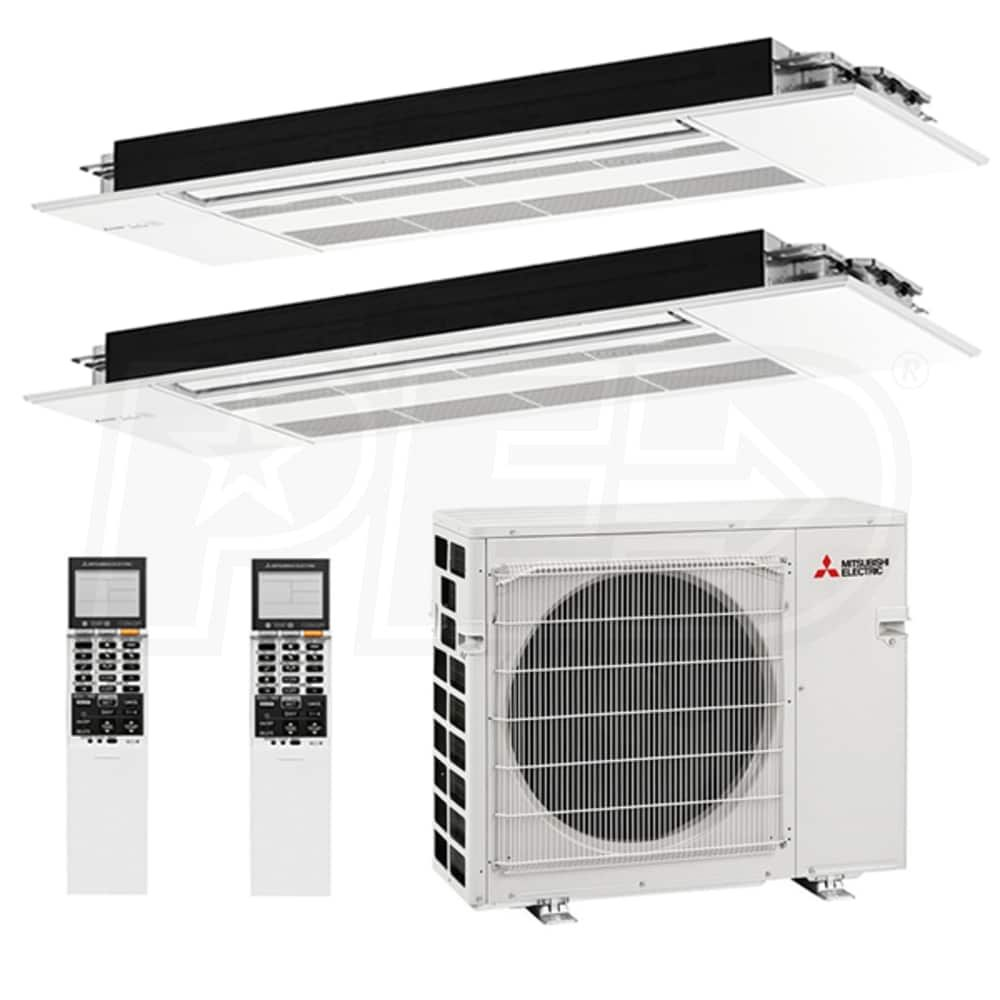 Mitsubishi M2h20o12120000 One Way Ceiling Cassette 2 Zone System 20 000 Btu Outdoor 12k 12k Indoor 16 7 Seer Heat Pump System Ductless Heating And Cooling Ductless Air Conditioner
