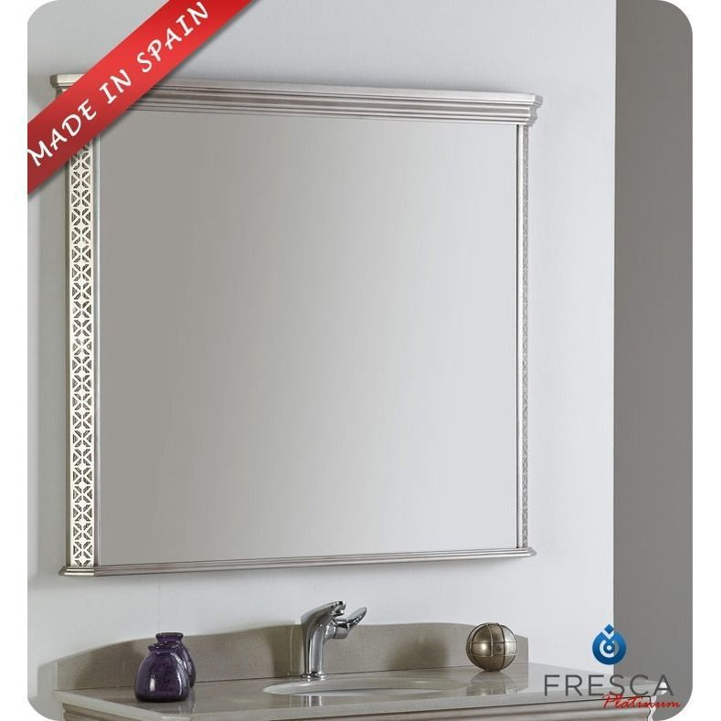 Fresca Platinum London 40 Antique Silver Bathroom Mirror Rectangular Bath Decor