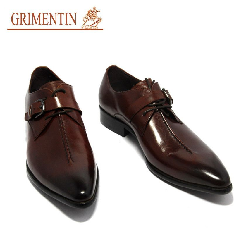 3423addfde8f GRIMENTIN fashion Italian mens dress shoes with buckle black brown 2016  designer casual leather shoe men flats office business
