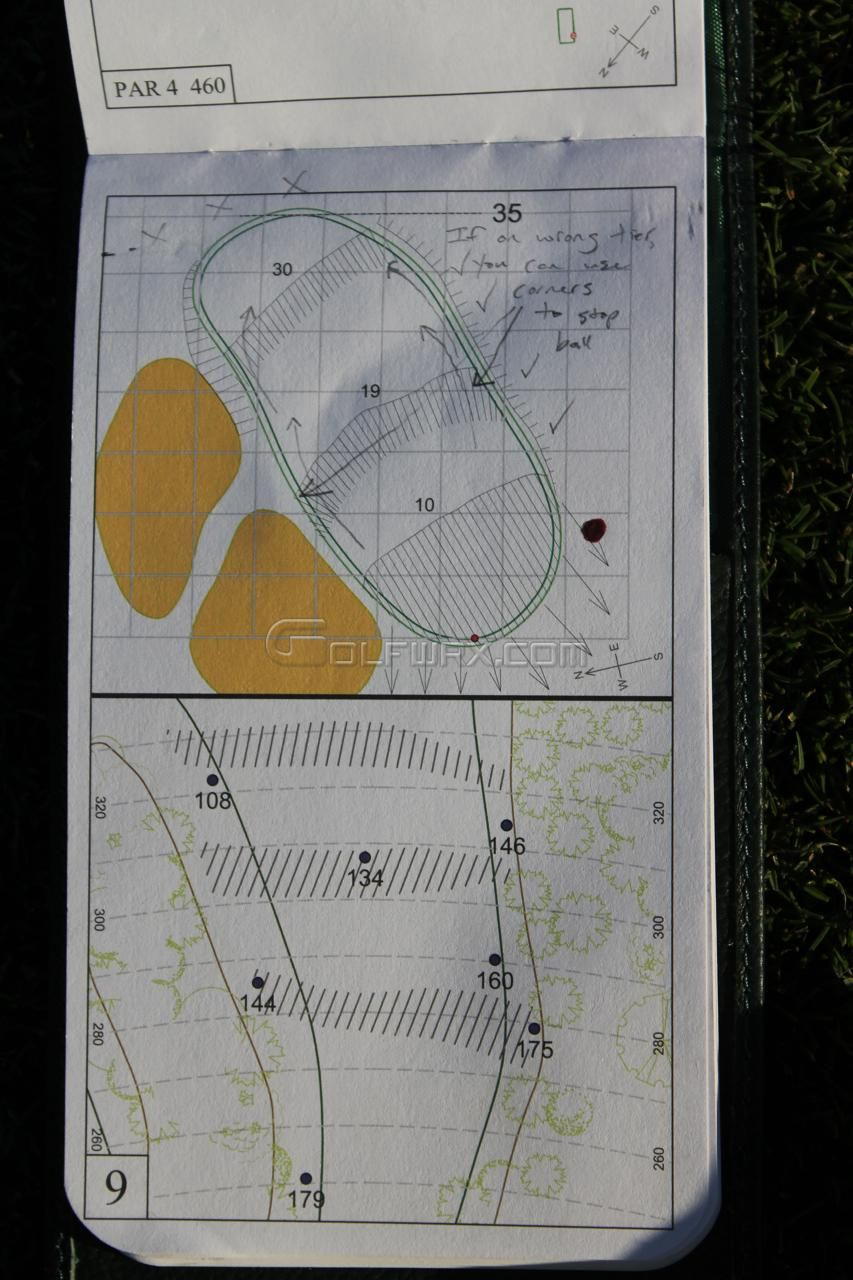 Kevin Streelman's yardage book from the 2011 Masters