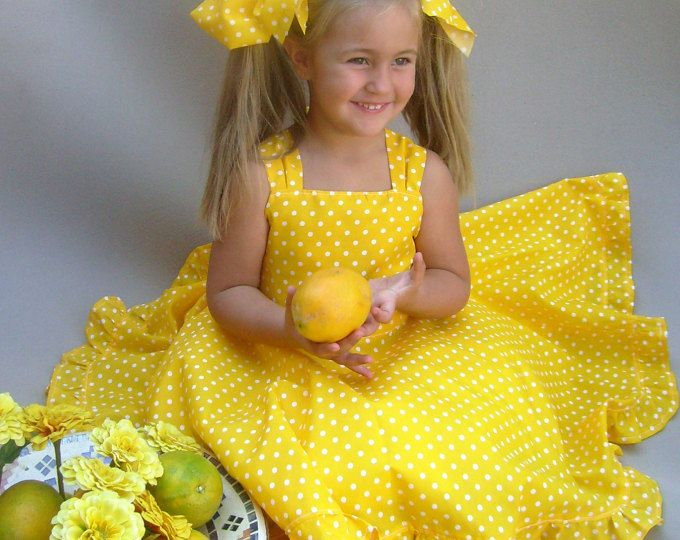 Yellow girls dress, Polka dot dress, Toddler twirl dress, Girls ...