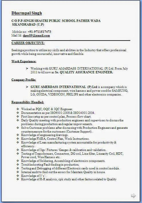 curriculum vitae word 2007 Sample Template Example ofExcellent ...