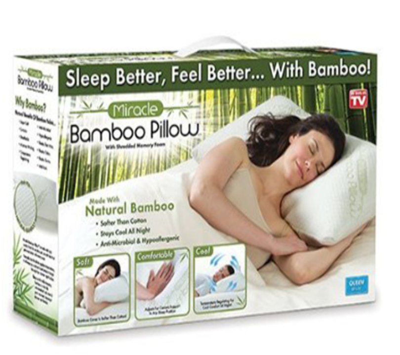 Ontel Products Miracle Bamboo Pillow In 2020 Bamboo Pillow Foam Pillows Memory Foam Pillow