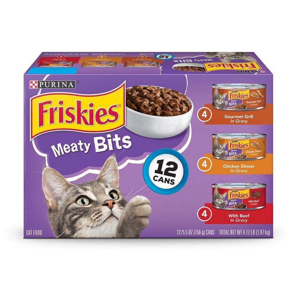 Friskies Meaty Bits Chicken And Beef Variety Pack Wet Cat Food 12ct Prettycat Purina Friskies Cat Food Friskies