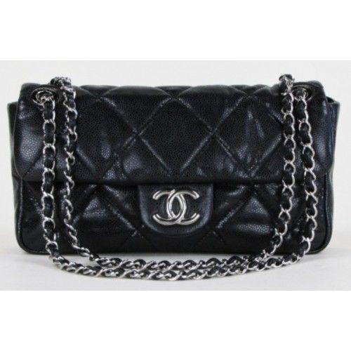 911e5b51f270f3 Chanel Black Jumbo Quilted Glazed Soft Caviar Leather Medium Flap Bag