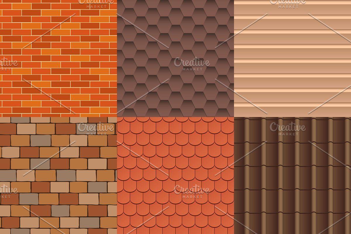 Roof Texture Vector Set In 2020 Texture Vector Rooftop Design Texture