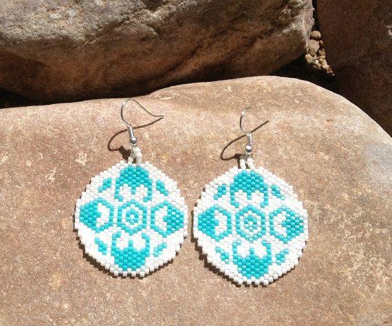Round Southwest Peyote Beaded Earrings | Beading / Beaded ...