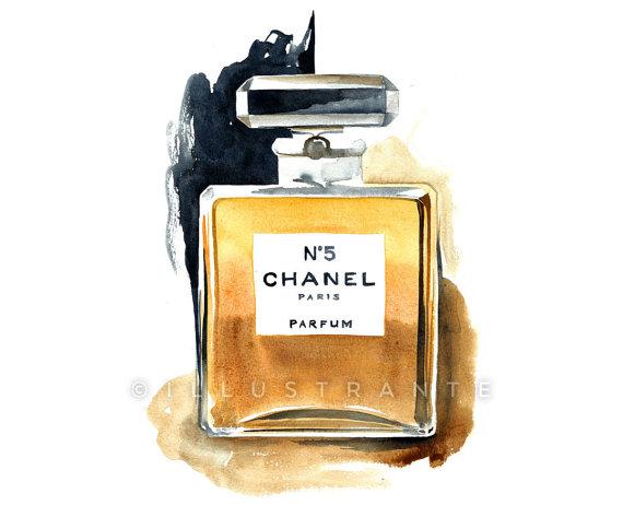 Chanel No 5 Art Perfume Print Ilration Watercolor 8x10 Bathroom Decor