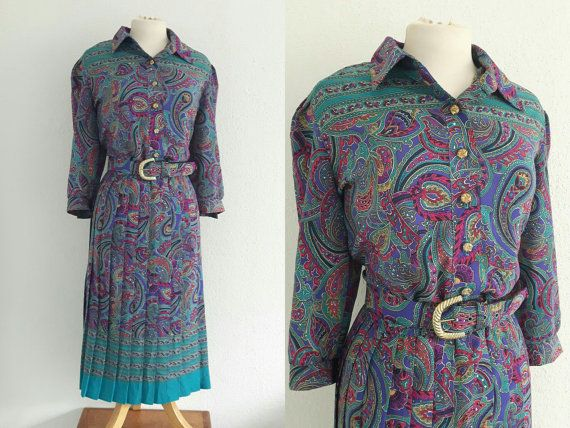 Vintage 80s Paisley Shirtwaister Dress - Breli Originals Psychedelic Belted Dress