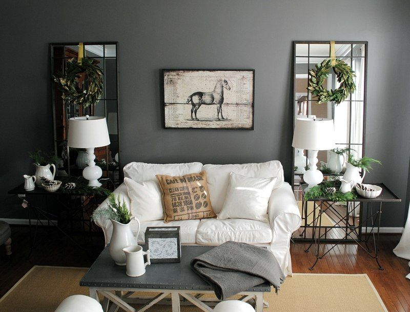 Ideas Cool Black Modern Living Room With White Sofa Gray Coffee Table Lamp On And Rectangle Mirror Wreath Wall