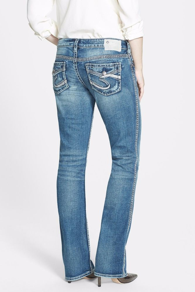 Silver Skinny Jeans Mid Rise Aiko Faux Flap 25 26 27 28 30 31 32 33 34 DEFECT