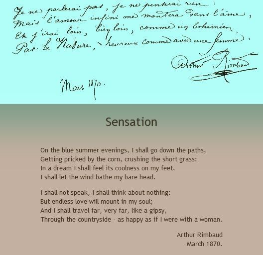 Sensation  Arthur Rimbaud