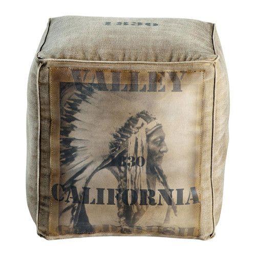 Quadratischer Pouf Montana Indianer