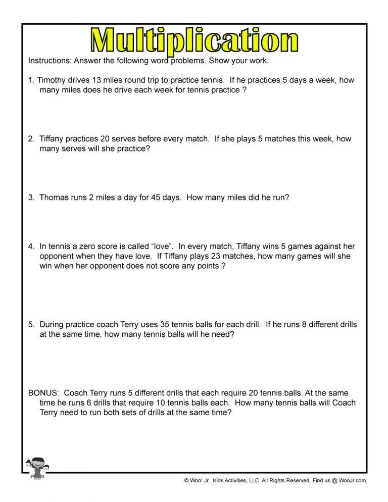 Summer Multiplication Free Printable Woo Jr Kids Activities Multiplication Word Problems Word Problems Word Problem Worksheets