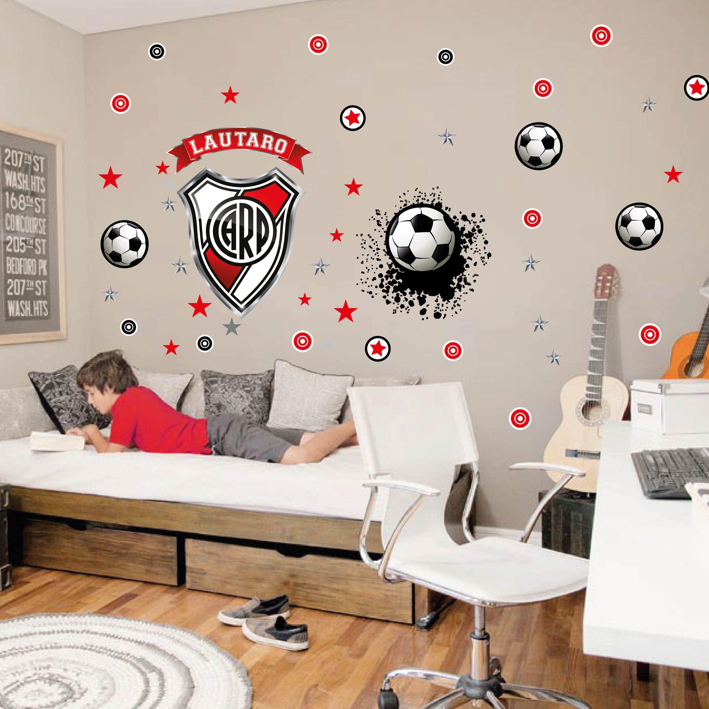 Kit De Vinilo Escudo River Con Tu Nombre Personalizado Futbol  ~ Murales Decorativos Para Habitaciones De Adultos