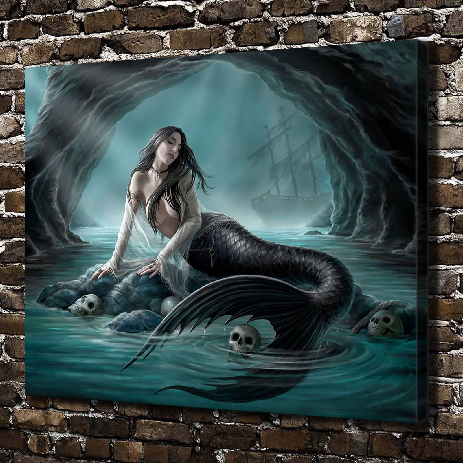 Stacey Kurtz Art For Mural In Boys: Cave Skull Siren Mermaid Painting HD Print On Canvas Home