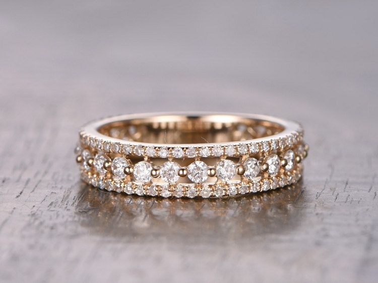 Triple Fila Anillo Diamante Completo Eternidad Por Kilarjewelry Pave Wedding Bandsemerald