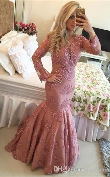 Evening Dresses Vestidos 2016 New Illusion V Neck Prom Gowns Long Sleeves Lace Crystal Beads Mermaid Plus Size Women Party Gowns Online with $133.67/Piece on Yes_mrs's Store | DHgate.com