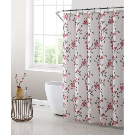 Mainstays Amelia Floral 13 Piece Set Shower Curtain And 12 Hooks Size 70 Inch X 72 Inch Red In 2020 Floral Shower Curtains Shower Curtain Sets Fabric Shower Curtains