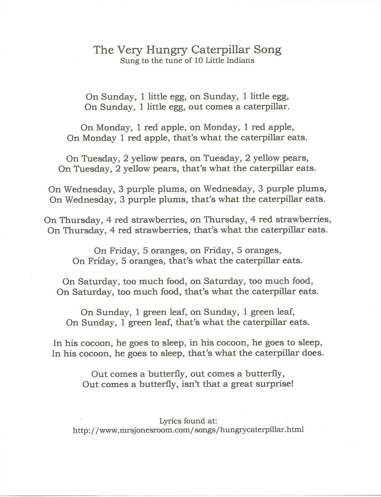Movement/ Music - The very hungry caterpillar song children