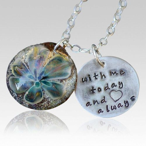 Hand Blown Glass Necklace Cremation Pendant Memorial Necklace Sterling Silver Boro Lampwork Pet Ashes