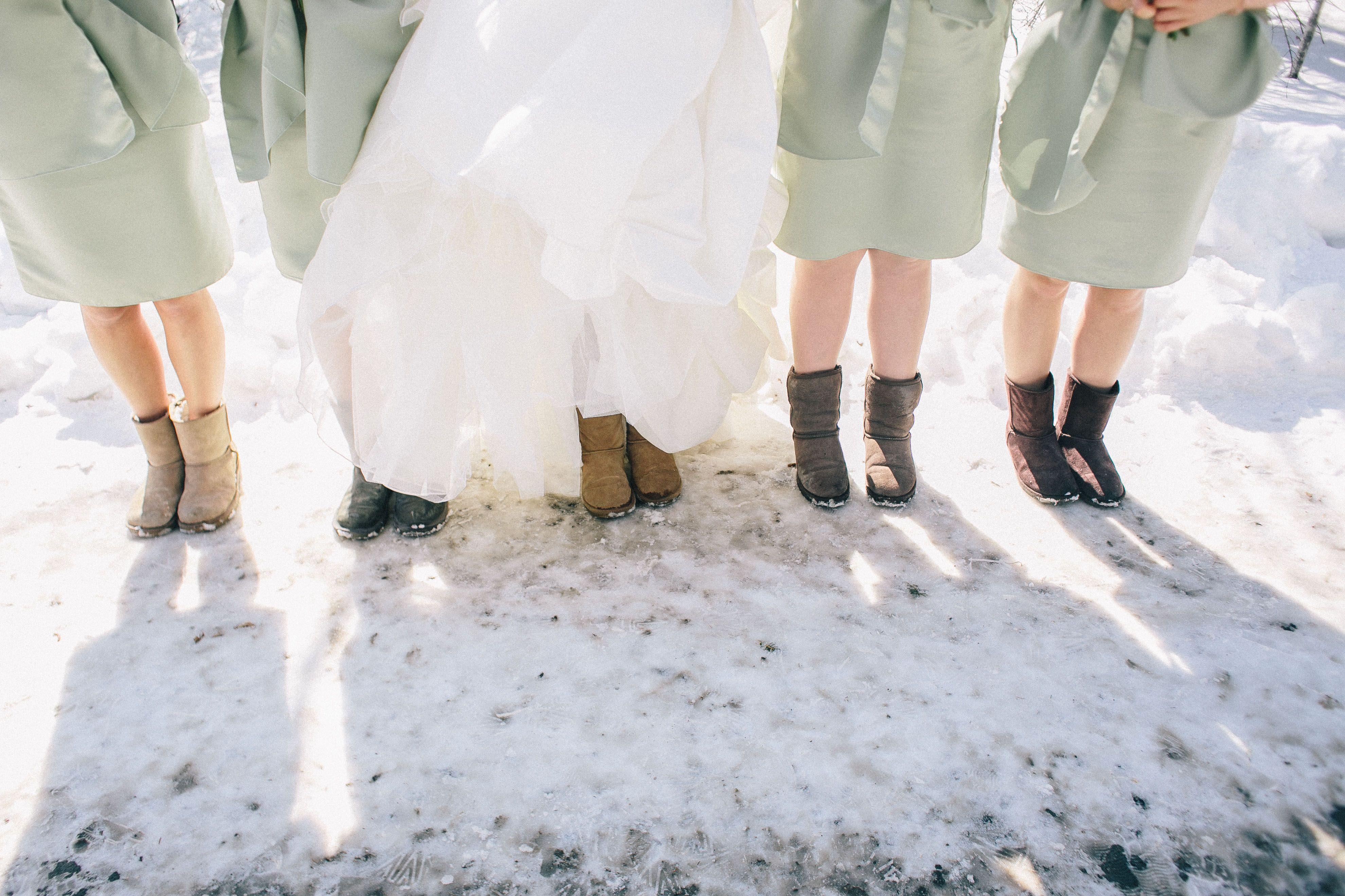 e48458a924  wedding  photography  white  dress  winter  flower  winter  bride   bridesmaids  Ugg  Boots  green  dresses