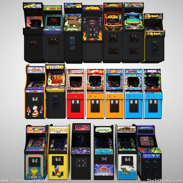 20 Arcade Game Cabinets - Low Poly 3D Models For Sale
