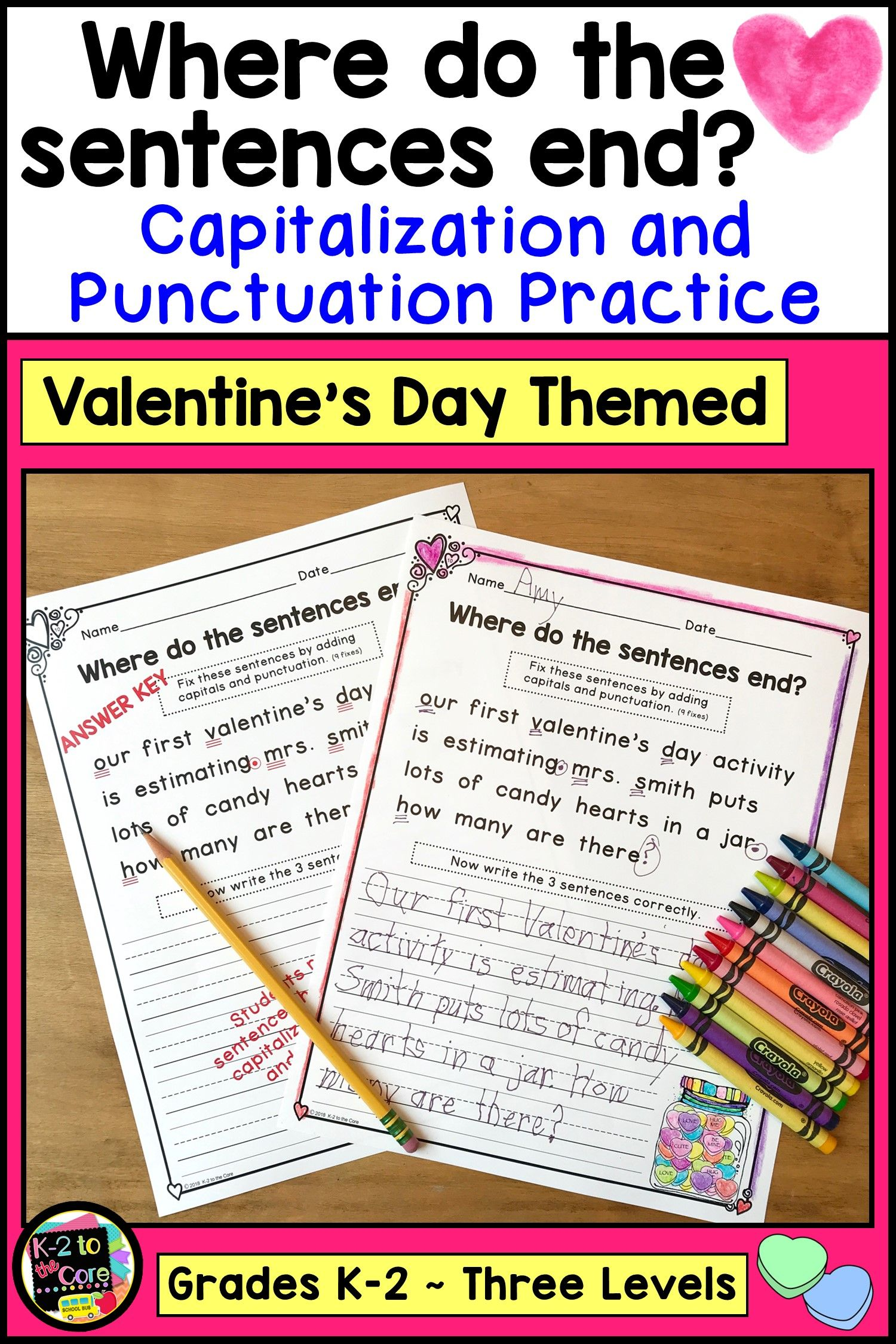 Valentines Day Writing Activity Including Capitalization And Punctuation Practice For K 1st And 2n Teaching Writing Writing Practice Sheets Writing Activities [ 2250 x 1500 Pixel ]