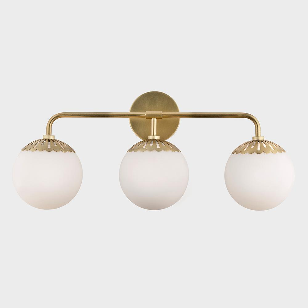 Fifth And Main Lighting Henry 3 Light Aged Brass Bath Light With