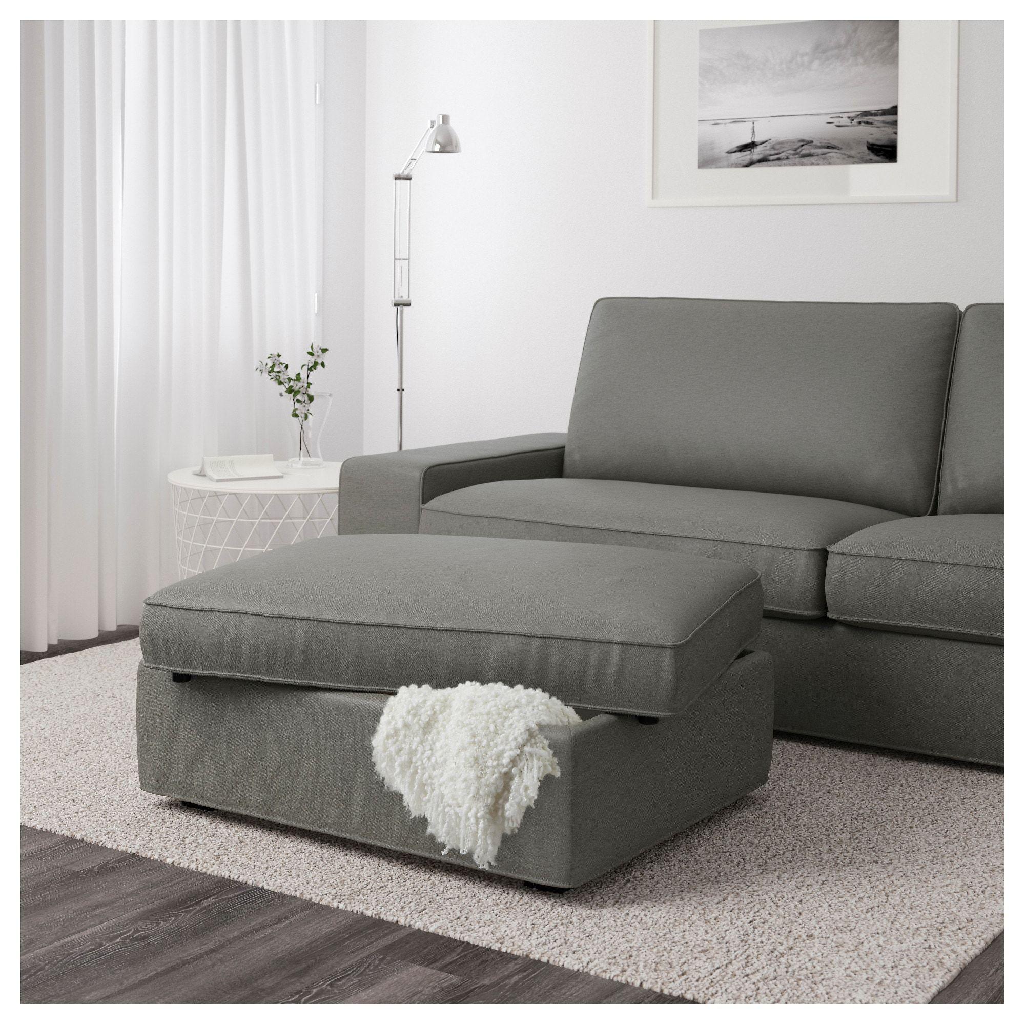 Ikea Kivik Borred Gray Green Ottoman With Storage Storage