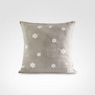 Almofada Napoli Floral No. 10 Natural  Capa 100% Linho | Bordado 100% Acrílico. Bordado artesanal