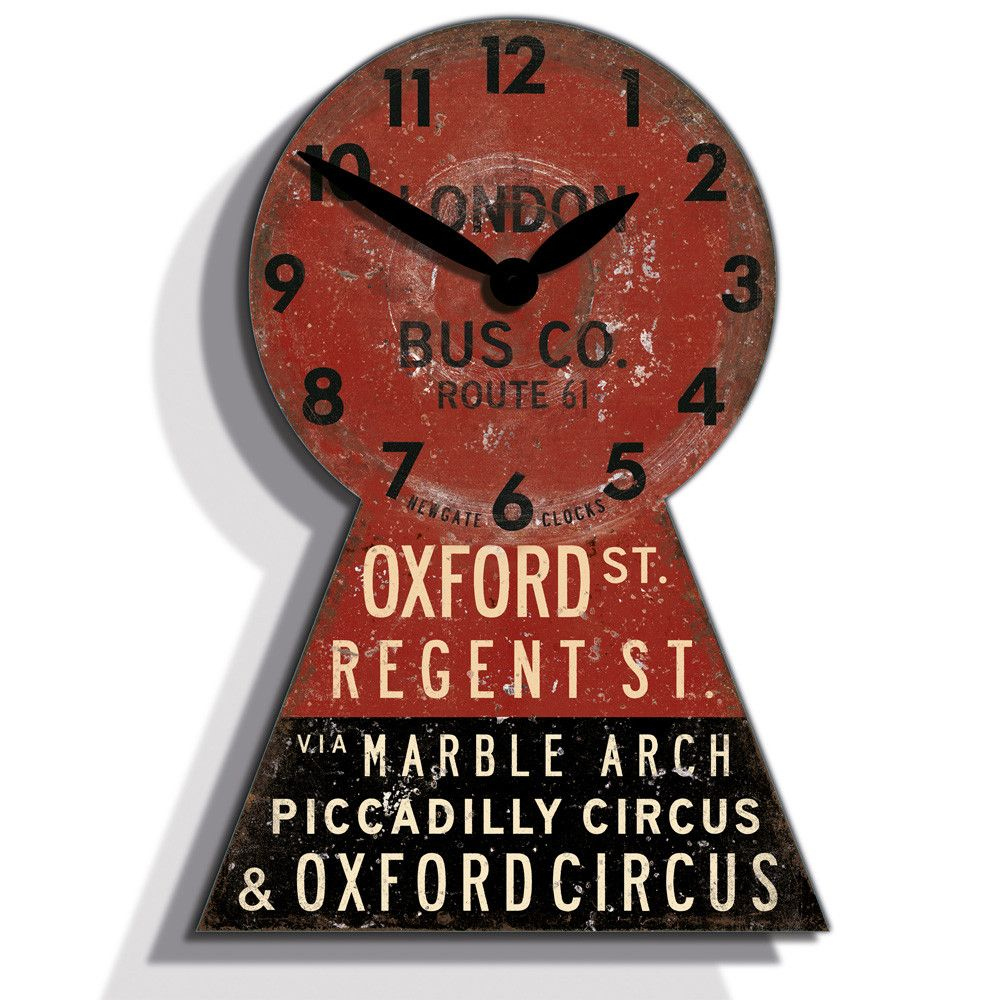 Vintage industrial clock double sided factory clock brilli 233 - Newgate Clocks Oxford Street Bus Clock Byr Liked On Polyvore Featuring Home Home Decor Clocks Decor Vintage Red Red Home Decor Battery Powered