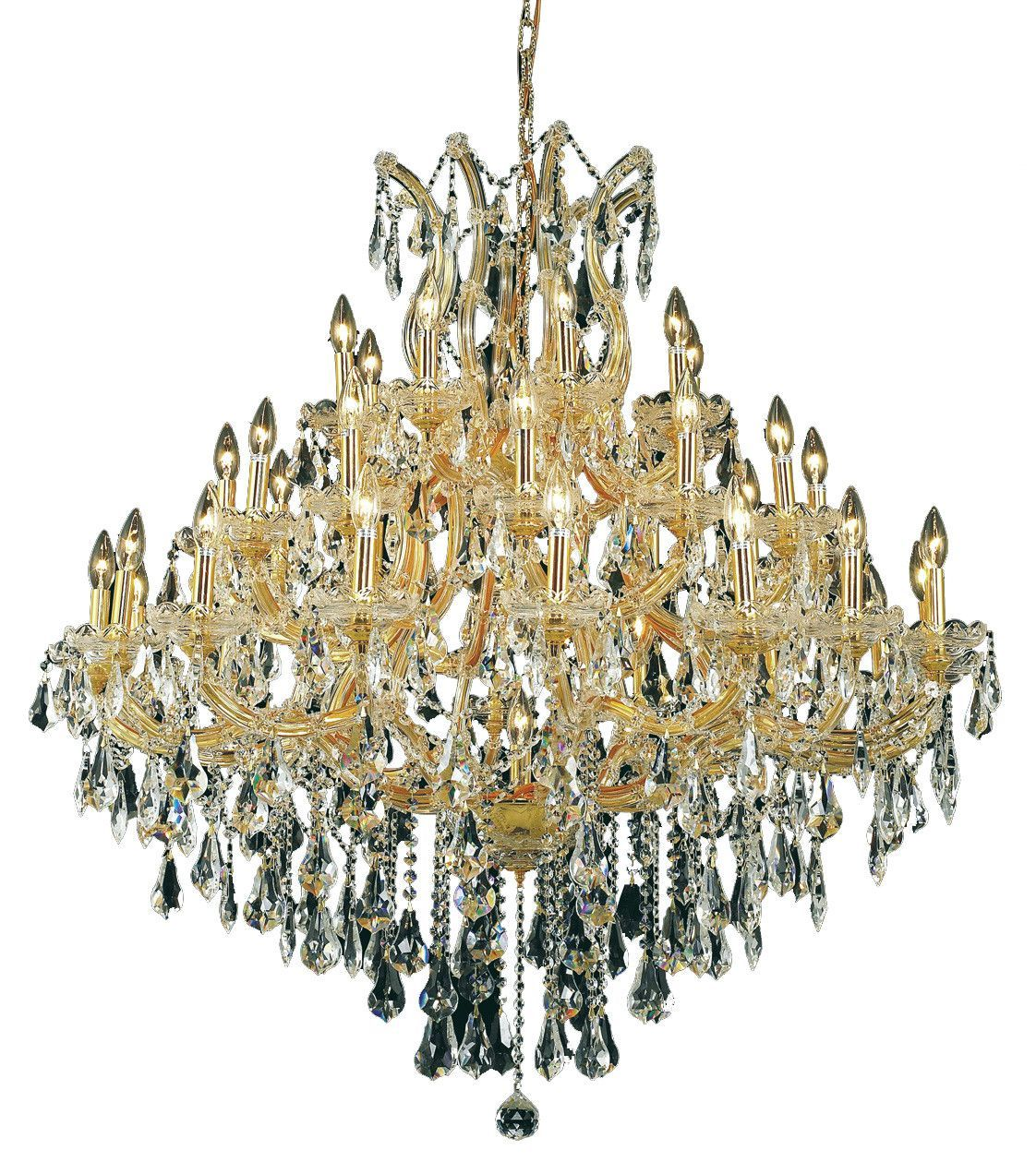 Maria Theresa 37 Light Crystal Clear Chandelier In Gold Finish