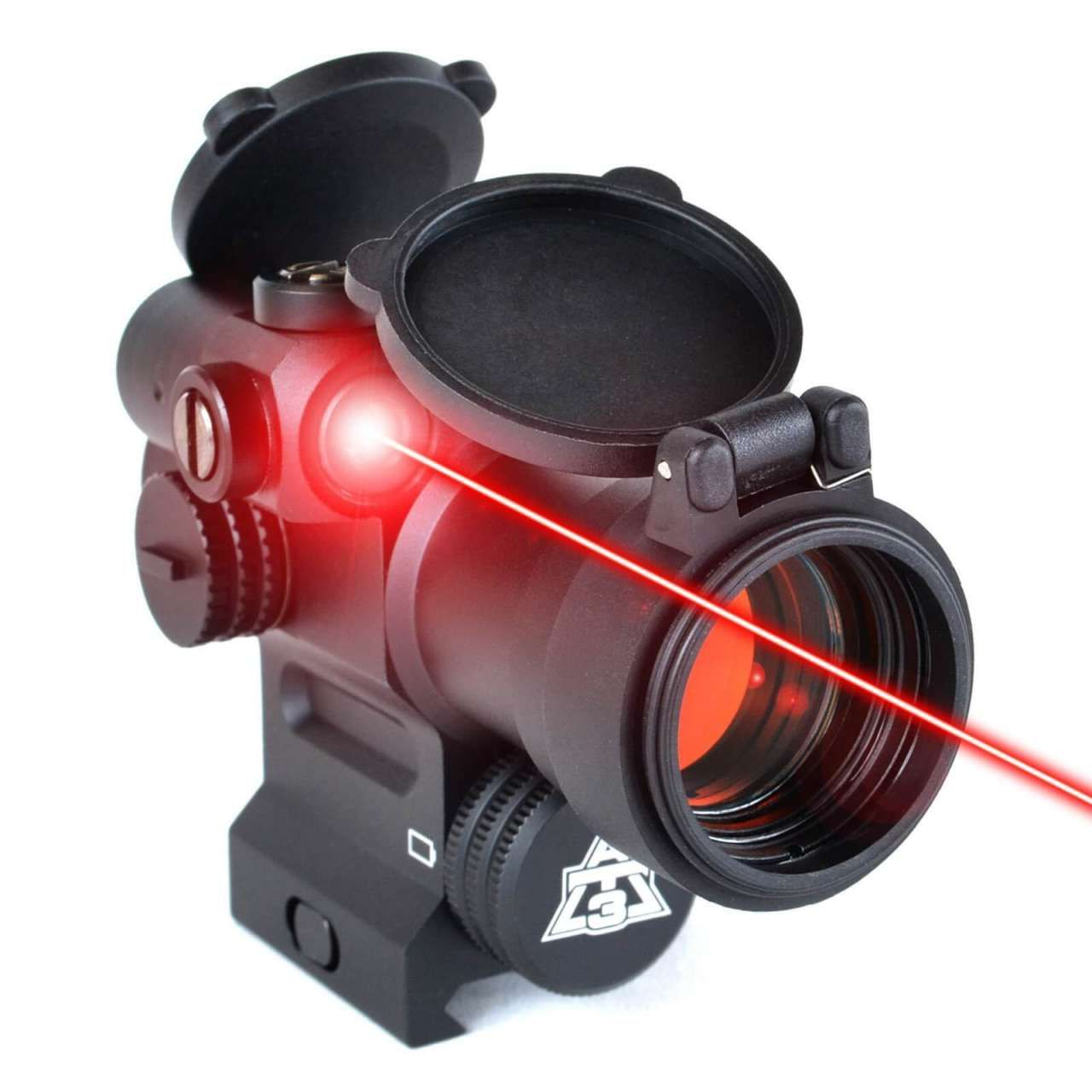 The At3 Leos Red Laser Enabled Optic System Is Accurate Versatile Reliable Packed With Features Thunder Tactical Red Dot Sight Green Laser Lens Caps
