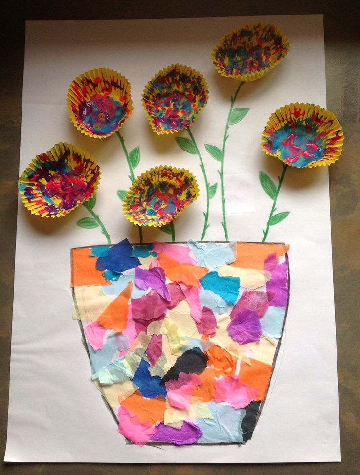 Tissue Paper Vase Painted Cupcake Case Flower