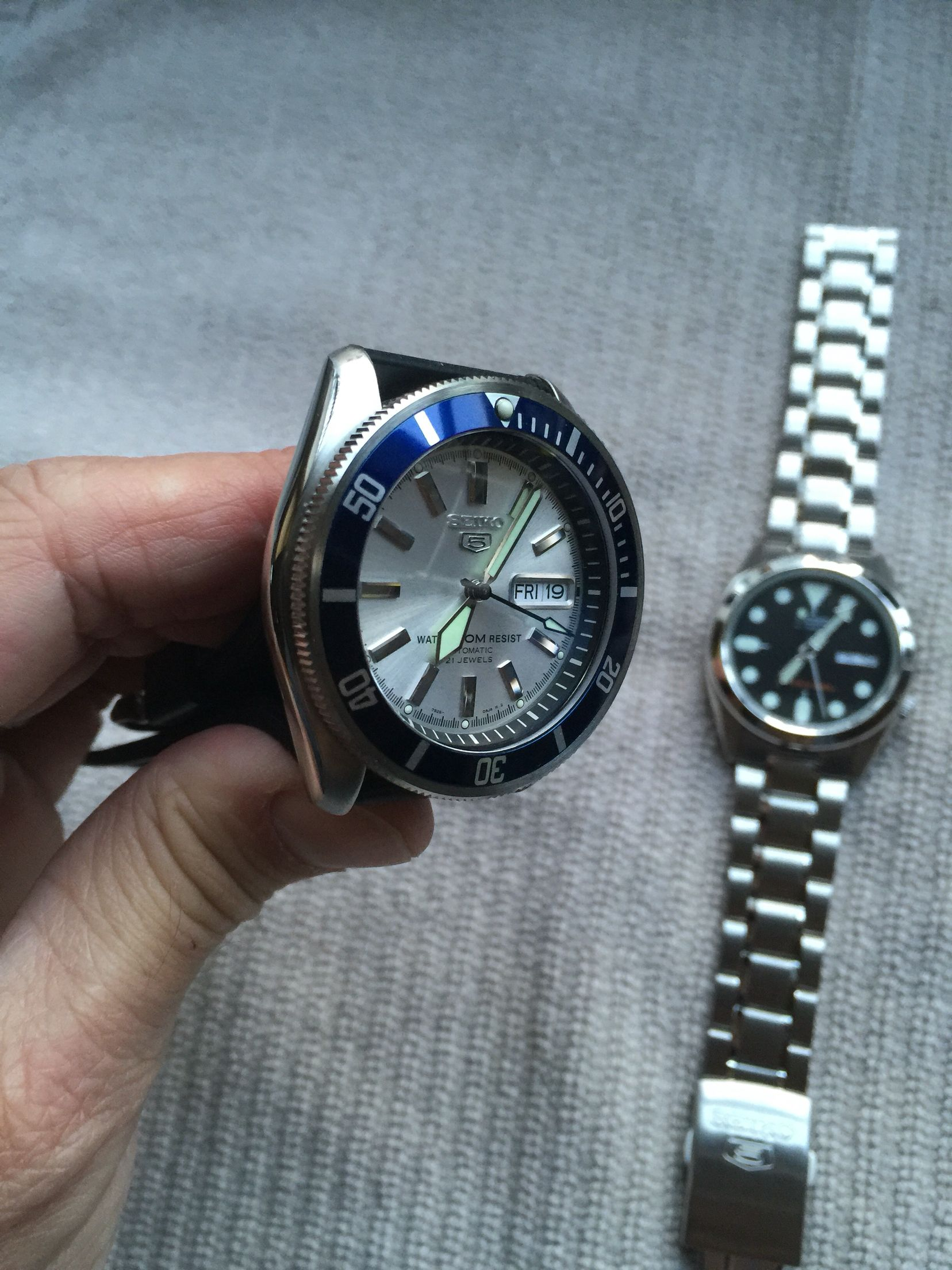 Post-mod. One-of-a-kind Seiko SKX-007 Diver on left.  b1e325ace719