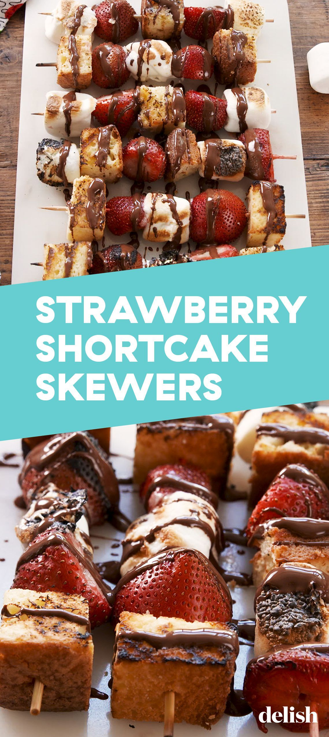 Forget Hamburgers & Hot Dogs, We're Grilling Strawberry Shortcake Skewers