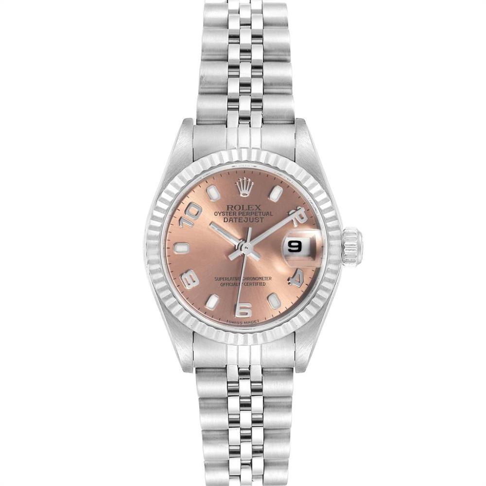 Rolex Datejust 26 Steel White Gold Salmon Dial Ladies Watch 79174 #rolexwatches