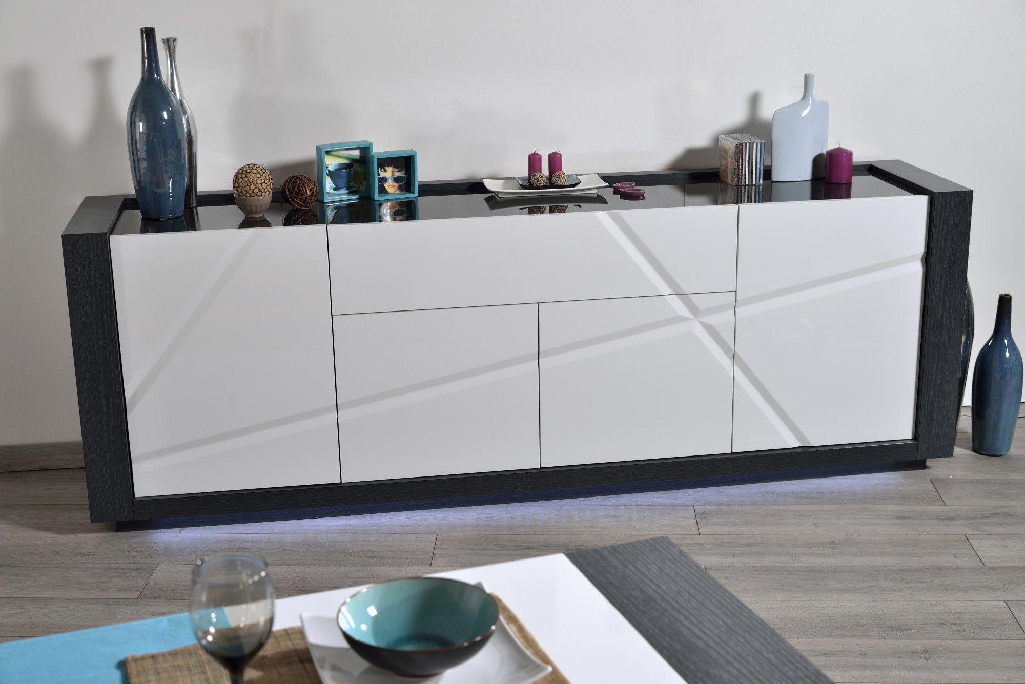 Buffet/bahut contemporain 4 portes/1 tiroir avec éclairage gris ...