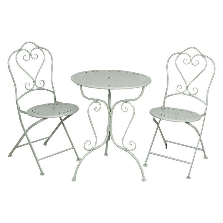 Gartenmöbel SET im Landhausstil Tisch + 2 Stühle grün 5Y0129 ...