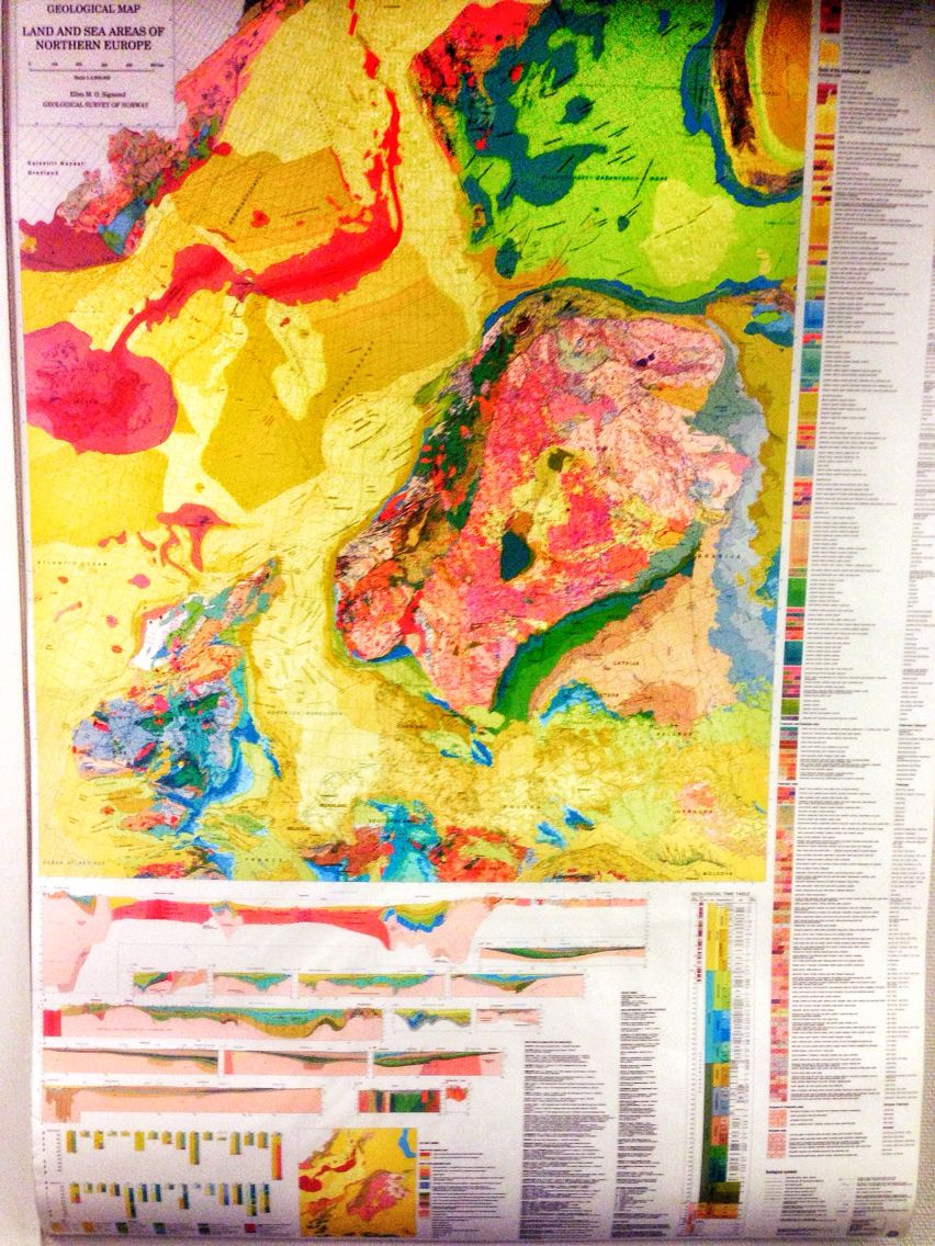 Land and Sea areas of Northern Europe Geological map with Iceland