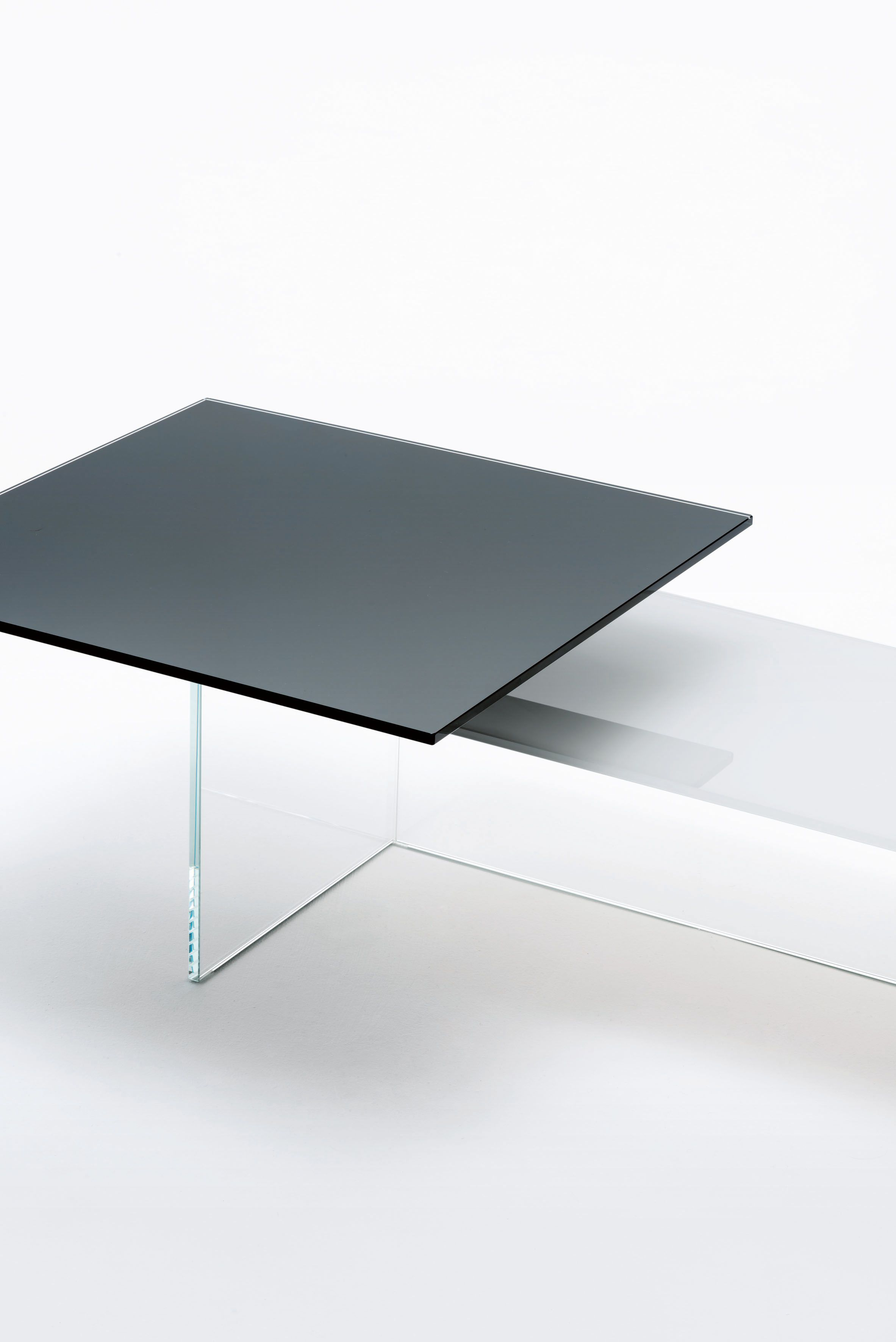 Kris Kros Design Marc Krusin Low Tables With Double Plate In Tempered Glossy Lacquered