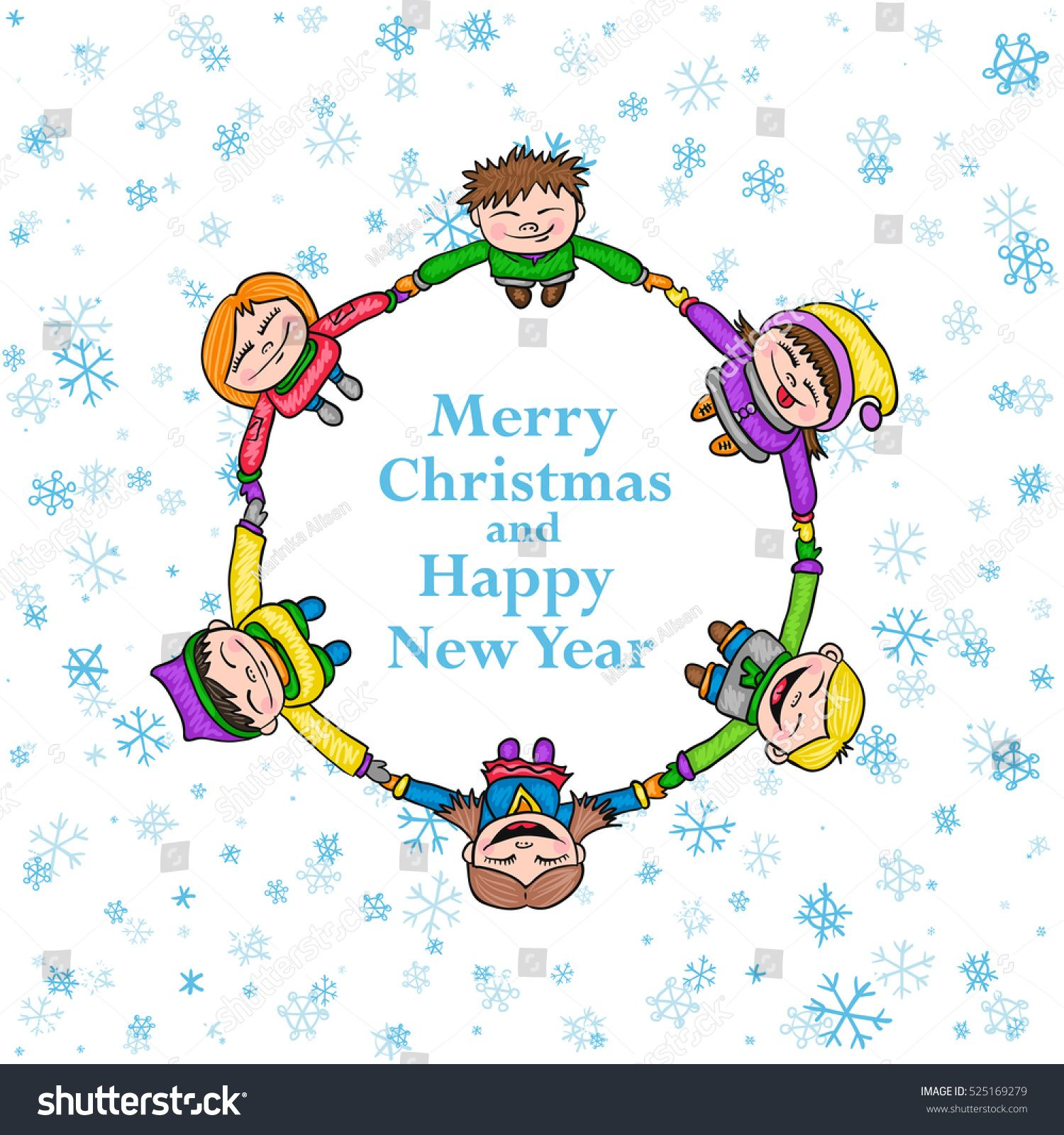 Circle kids winter frame, round Christmas background with children ...